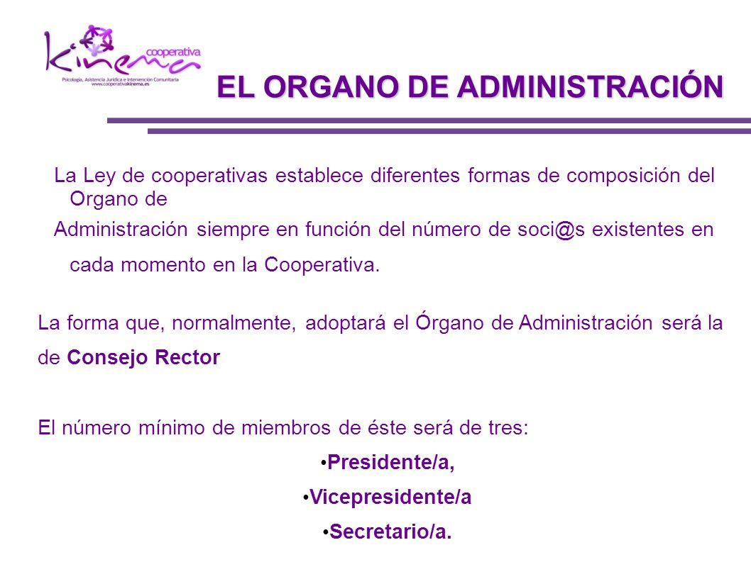 La Ley de cooperativas establece diferentes formas de composición del Organo de Administración siempre en función del número de soci@s existentes en c