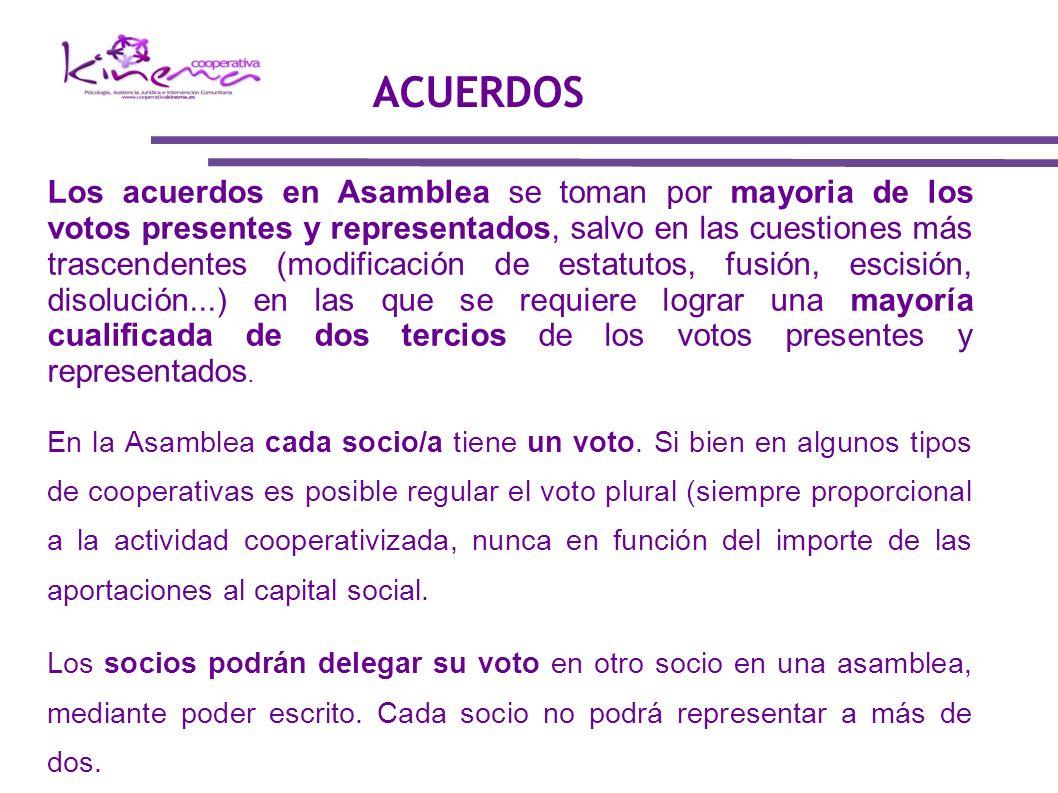 Los acuerdos en Asamblea se toman por mayoria de los votos presentes y representados, salvo en las cuestiones más trascendentes (modificación de estat