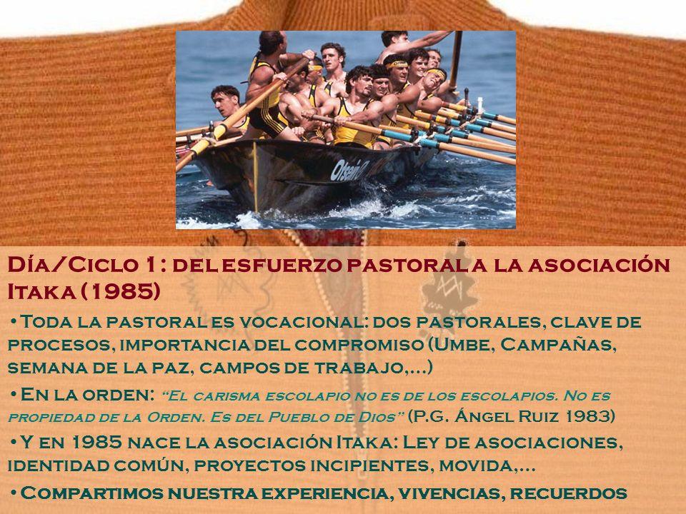 Día/Ciclo 1: del esfuerzo pastoral a la asociación Itaka (1985) Toda la pastoral es vocacional: dos pastorales, clave de procesos, importancia del com
