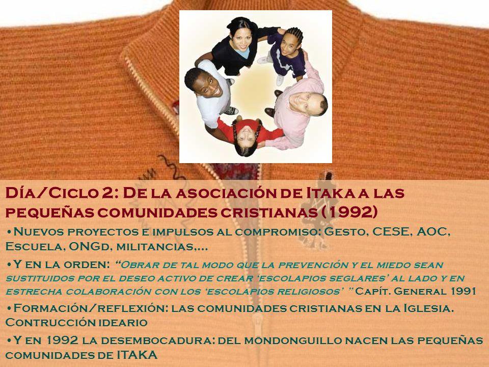 Día/Ciclo 2: De la asociación de Itaka a las pequeñas comunidades cristianas (1992) Nuevos proyectos e impulsos al compromiso: Gesto, CESE, AOC, Escue