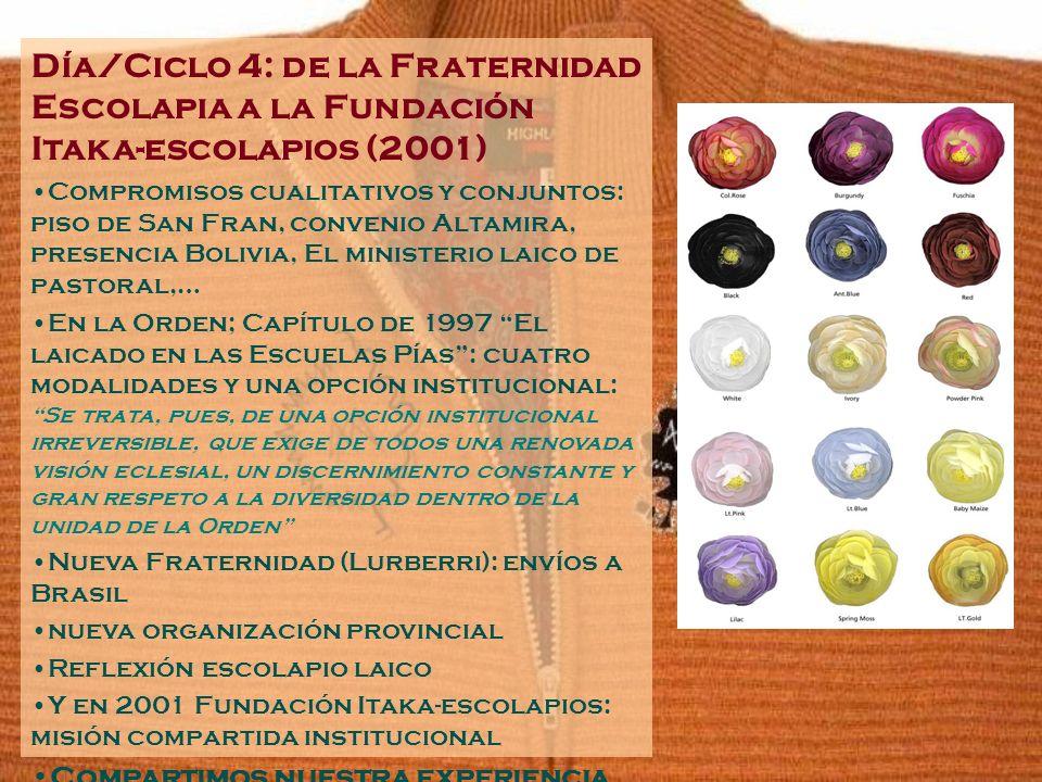 Día/Ciclo 4: de la Fraternidad Escolapia a la Fundación Itaka-escolapios (2001) Compromisos cualitativos y conjuntos: piso de San Fran, convenio Altam