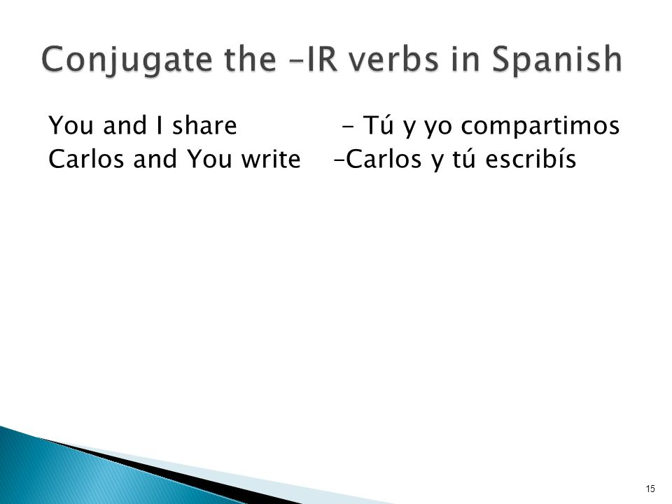 You and I share - Tú y yo compartimos Carlos and You write –Carlos y tú escribís 15