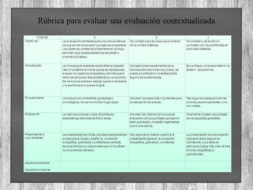 Rúbrica para evaluar una evaluación contextualizada