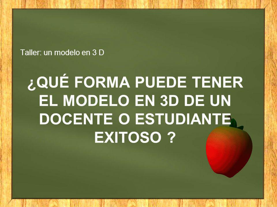 ¿QUÉ FORMA PUEDE TENER EL MODELO EN 3D DE UN DOCENTE O ESTUDIANTE EXITOSO ? Taller: un modelo en 3 D