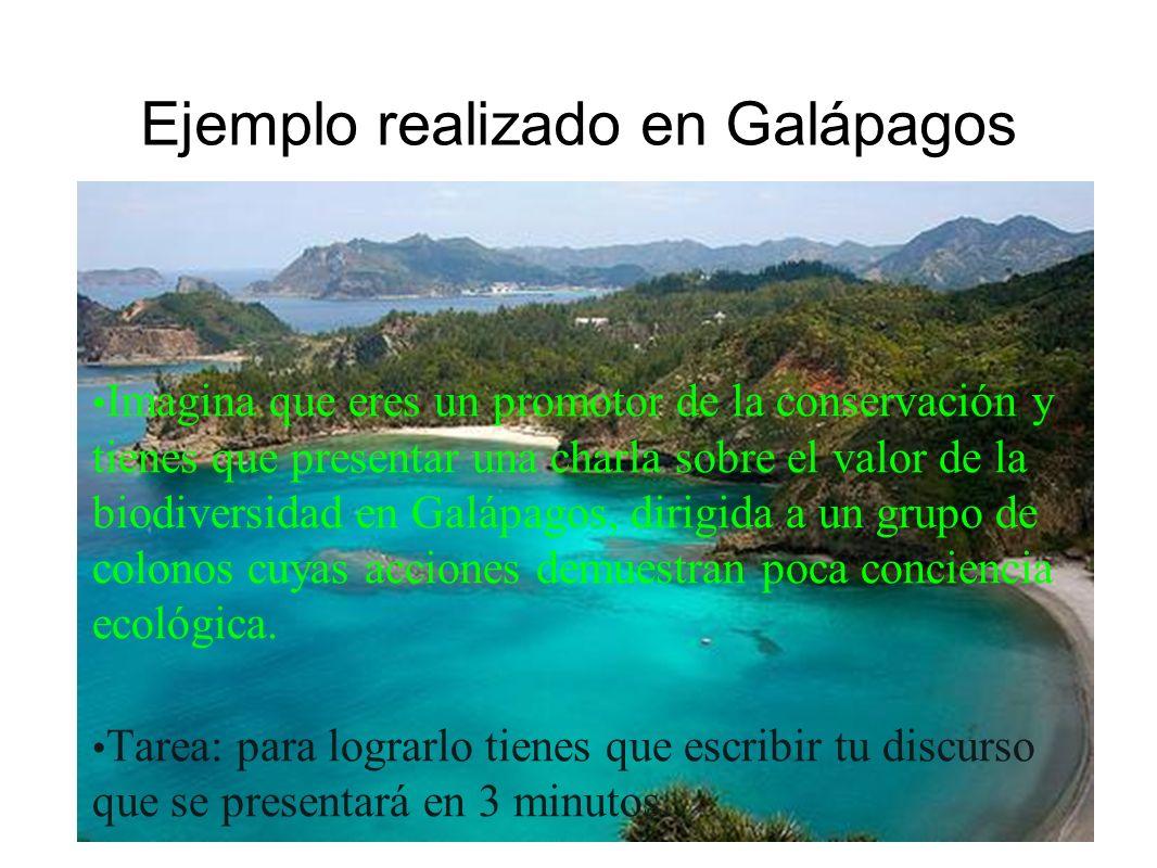 Ejemplo realizado en Galápagos Imagina que eres un promotor de la conservación y tienes que presentar una charla sobre el valor de la biodiversidad en