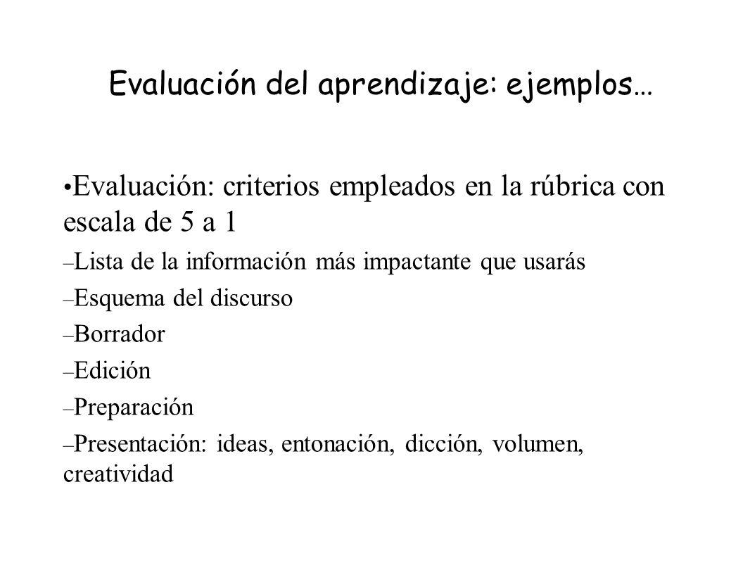Evaluación del aprendizaje: ejemplos… Evaluación: criterios empleados en la rúbrica con escala de 5 a 1 – Lista de la información más impactante que u
