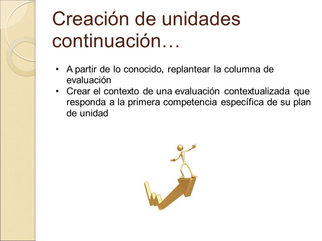 Creación de unidades continuación… A partir de lo conocido, replantear la columna de evaluación Crear el contexto de una evaluación contextualizada qu