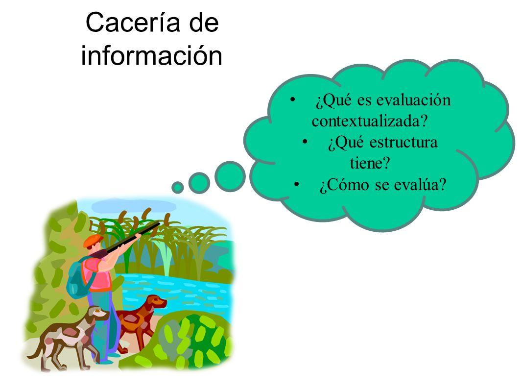 Cacería de información ¿Qué es evaluación contextualizada? ¿Qué estructura tiene? ¿Cómo se evalúa?