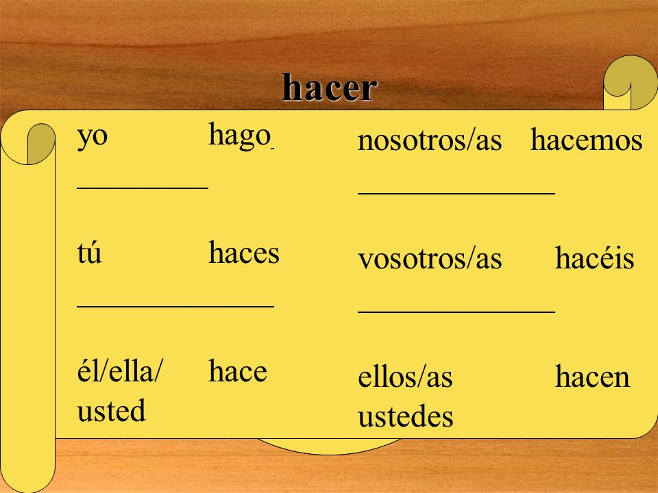 hacer Is there anything special about this verb? YES! THIS IS A GO VERB! REMEMBER TO INCLUDE A WRITTEN ACCENT IN THE VOSOTROS FORM ! yohago túhaces él