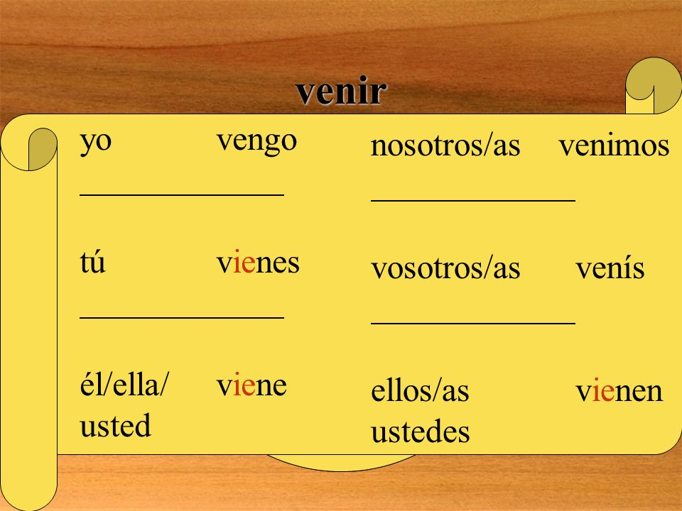 venir Is there anything special about this verb? YES! THIS IS A GO VERB! IT IS A STEM- CHANGING VERB WITH A PATTERN OF E>IE REMEMBER, STEMS DON T CHAN