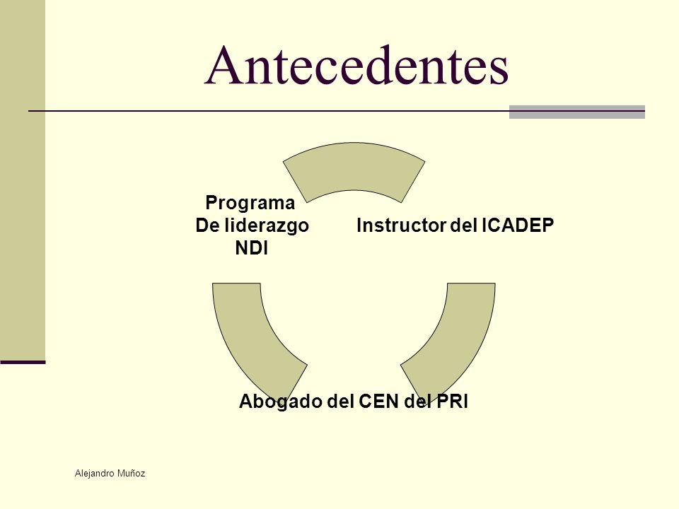 Alejandro Muñoz Antecedentes Instructor del ICADEP Abogado del CEN del PRI Programa De liderazgo NDI