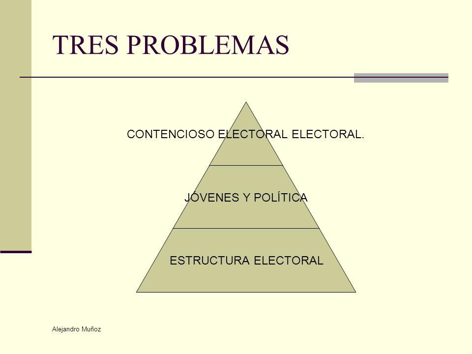 Alejandro Muñoz TRES PROBLEMAS CONTENCIOSO ELECTORAL ELECTORAL. JÓVENES Y POLÍTICA ESTRUCTURA ELECTORAL