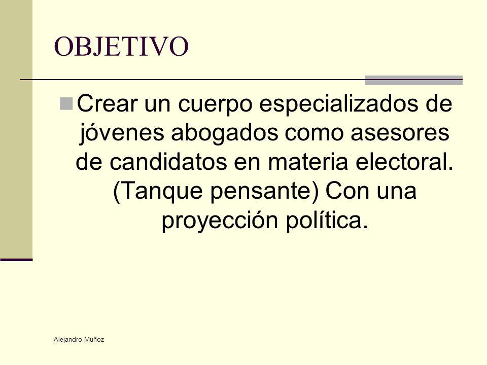 Alejandro Muñoz OBJETIVO Crear un cuerpo especializados de jóvenes abogados como asesores de candidatos en materia electoral. (Tanque pensante) Con un