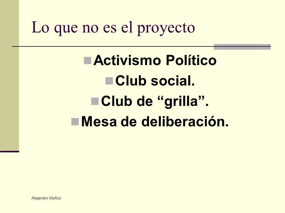 Alejandro Muñoz Lo que no es el proyecto Activismo Político Club social. Club de grilla. Mesa de deliberación.