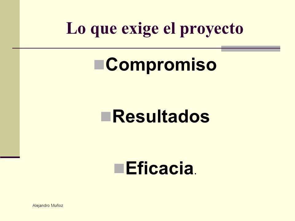 Alejandro Muñoz Lo que exige el proyecto Compromiso Resultados Eficacia.