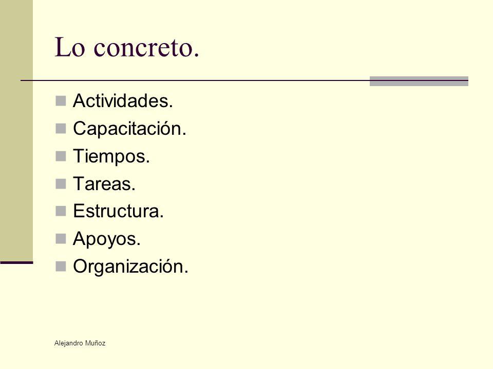 Alejandro Muñoz Lo concreto. Actividades. Capacitación. Tiempos. Tareas. Estructura. Apoyos. Organización.