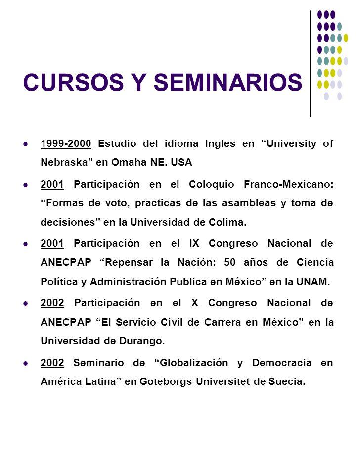 CURSOS Y SEMINARIOS 1999-2000 Estudio del idioma Ingles en University of Nebraska en Omaha NE. USA 2001 Participación en el Coloquio Franco-Mexicano: