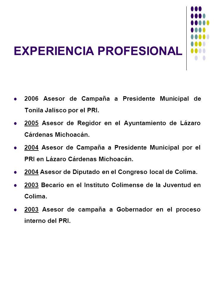 EXPERIENCIA PROFESIONAL 2006 Asesor de Campaña a Presidente Municipal de Tonila Jalisco por el PRI. 2005 Asesor de Regidor en el Ayuntamiento de Lázar