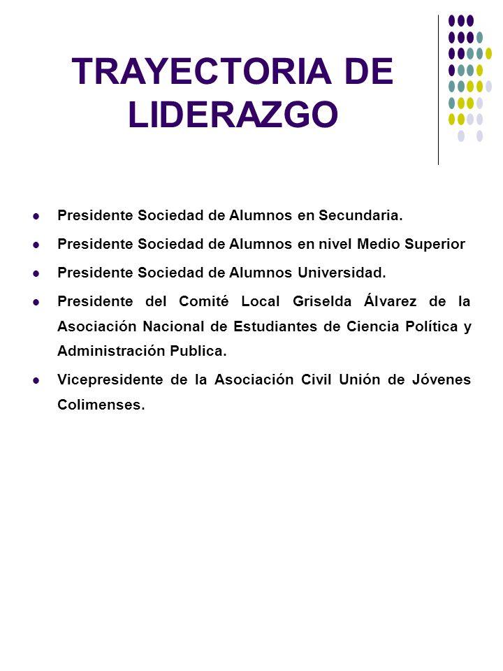 TRAYECTORIA DE LIDERAZGO Presidente Sociedad de Alumnos en Secundaria. Presidente Sociedad de Alumnos en nivel Medio Superior Presidente Sociedad de A