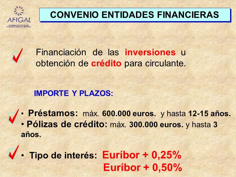 CONVENIO ENTIDADES FINANCIERAS Financiación de las inversiones u obtención de crédito para circulante. IMPORTE Y PLAZOS: Préstamos: máx. 600.000 euros