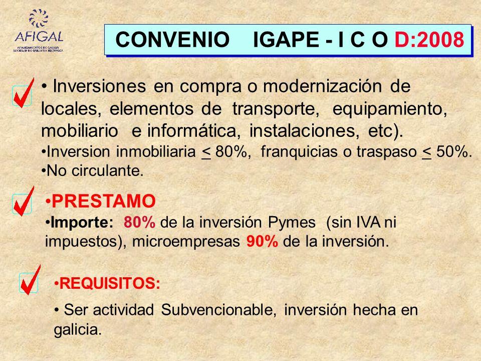 CONVENIO IGAPE - I C O D:2008 Inversiones en compra o modernización de locales, elementos de transporte, equipamiento, mobiliario e informática, insta