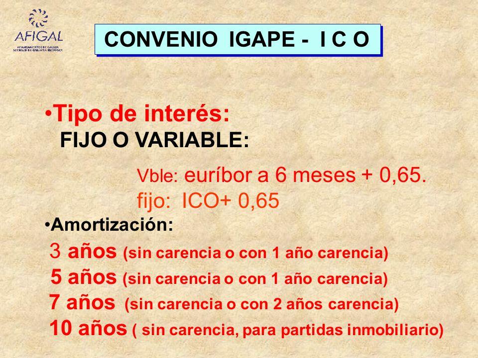 CONVENIO IGAPE - I C O Tipo de interés: FIJO O VARIABLE: Vble: euríbor a 6 meses + 0,65. fijo: ICO+ 0,65 Amortización: 3 años (sin carencia o con 1 añ