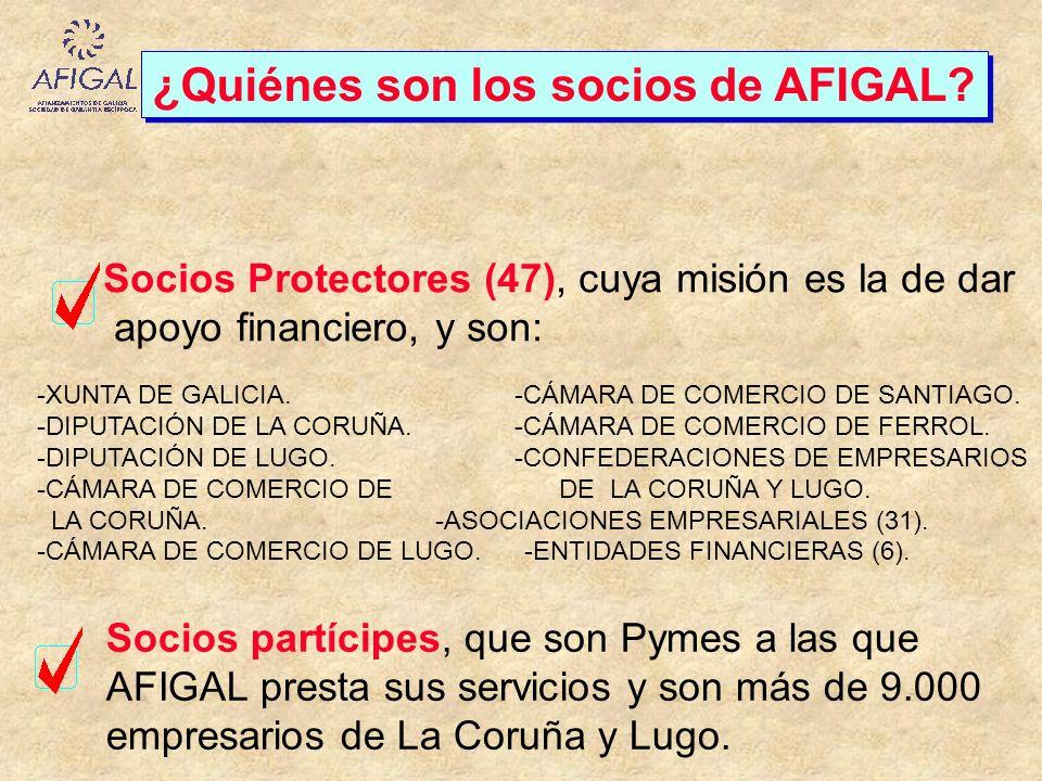 ¿Quiénes son los socios de AFIGAL? Socios Protectores (47), cuya misión es la de dar apoyo financiero, y son: -XUNTA DE GALICIA. -CÁMARA DE COMERCIO D