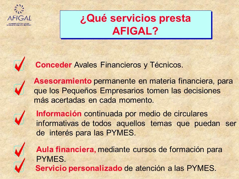 ¿Qué servicios presta AFIGAL? Conceder Avales Financieros y Técnicos. Asesoramiento permanente en materia financiera, para que los Pequeños Empresario