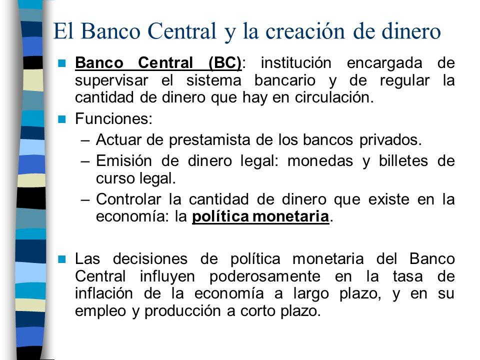 El Banco Central y la creación de dinero Banco Central (BC): institución encargada de supervisar el sistema bancario y de regular la cantidad de dinero que hay en circulación.