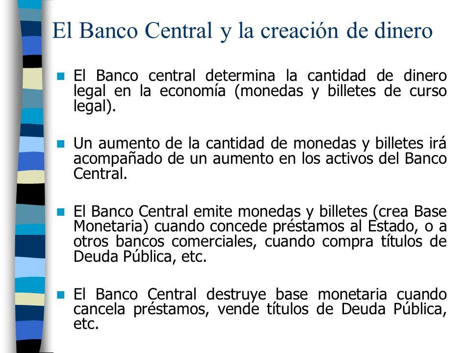 El Banco Central y la creación de dinero El Banco central determina la cantidad de dinero legal en la economía (monedas y billetes de curso legal).