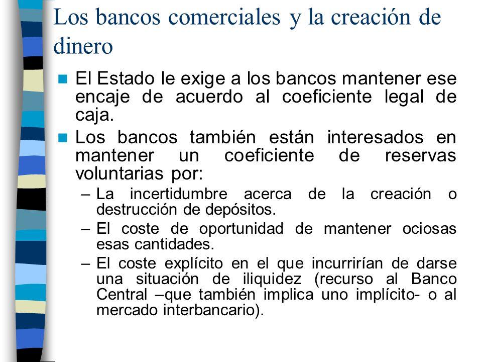 Los bancos comerciales y la creación de dinero El Estado le exige a los bancos mantener ese encaje de acuerdo al coeficiente legal de caja.