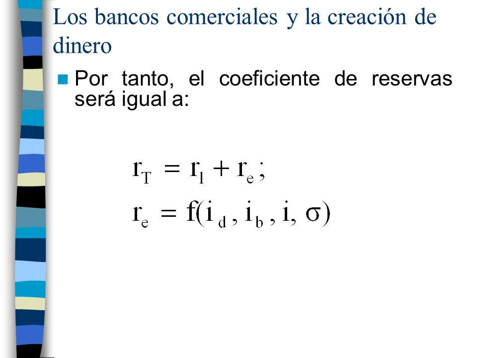 Los bancos comerciales y la creación de dinero Por tanto, el coeficiente de reservas será igual a: