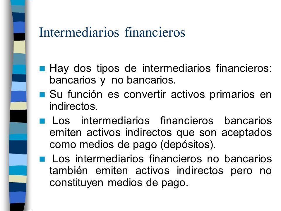 Intermediarios financieros Hay dos tipos de intermediarios financieros: bancarios y no bancarios.