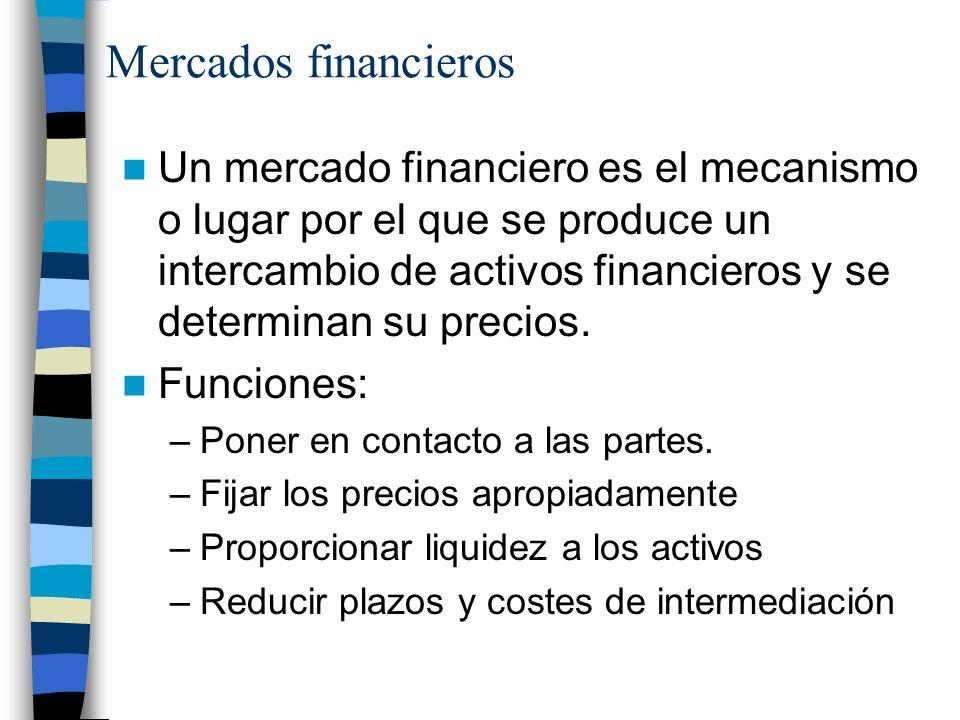 Mercados financieros Un mercado financiero es el mecanismo o lugar por el que se produce un intercambio de activos financieros y se determinan su precios.