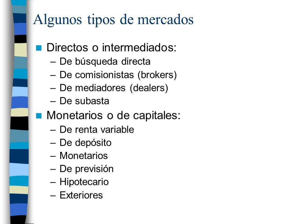 Algunos tipos de mercados Directos o intermediados: –De búsqueda directa –De comisionistas (brokers) –De mediadores (dealers) –De subasta Monetarios o de capitales: –De renta variable –De depósito –Monetarios –De previsión –Hipotecario –Exteriores