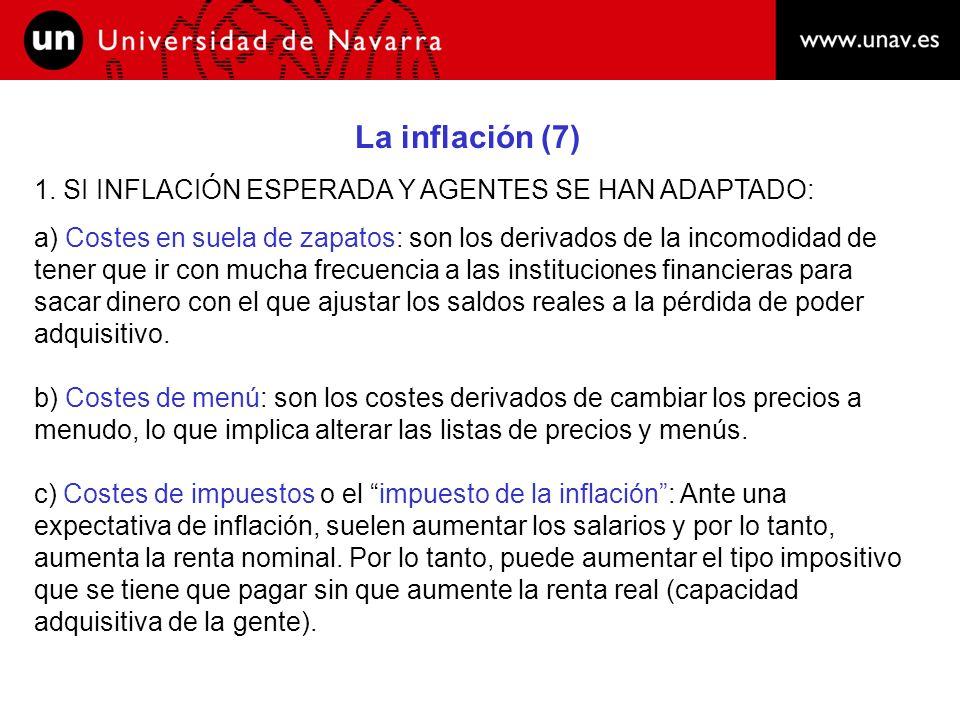 La inflación (8) 2.LA INFLACION IMPREVISTA: a) Efectos sobre la distribución de la renta: 1.