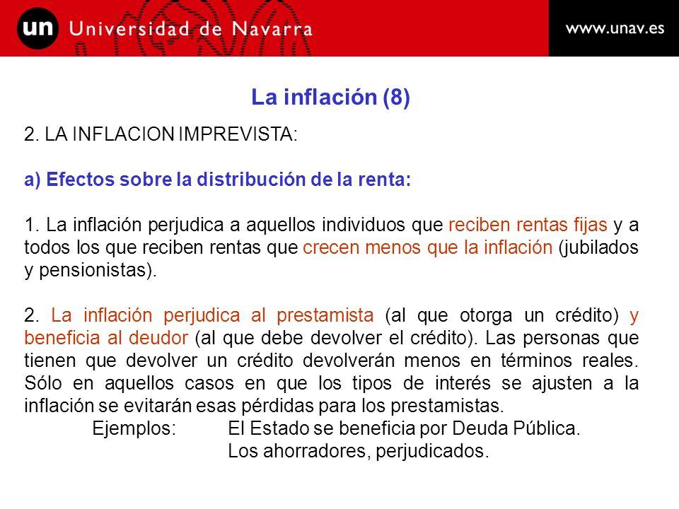 La inflación (9) 2.LA INFLACION IMPREVISTA: b) Efectos sobre la actividad económica: 1.