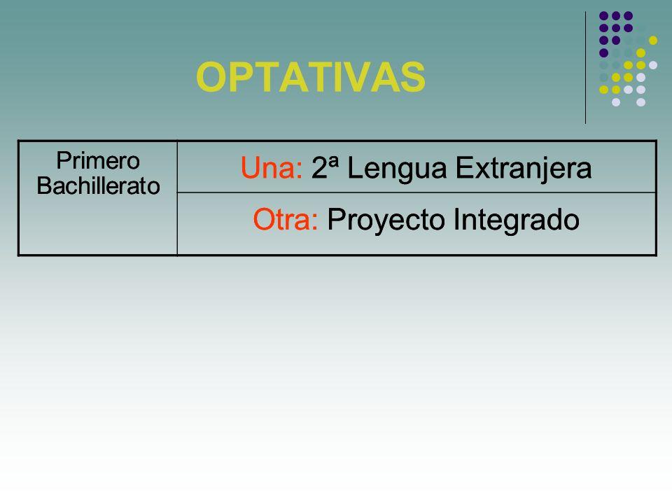 OPTATIVAS Primero Bachillerato Una: 2ª Lengua Extranjera Otra: Proyecto Integrado Primero Bachillerato Una: 2ª Lengua Extranjera Otra: Proyecto Integr