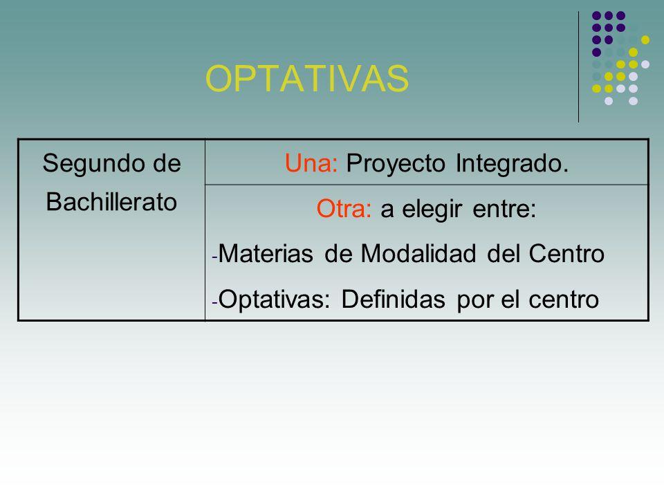 OPTATIVAS Segundo de Bachillerato Una: Proyecto Integrado. Otra: a elegir entre: Materias de Modalidad del Centro Optativas: Definidas por el centro