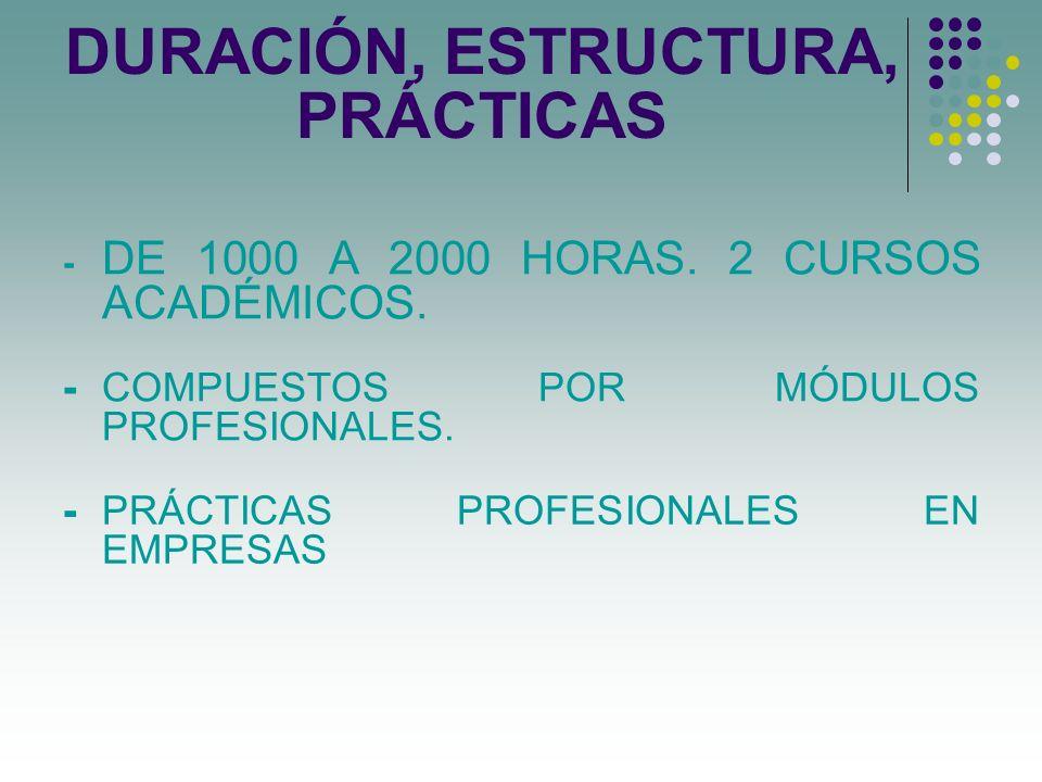 DURACIÓN, ESTRUCTURA, PRÁCTICAS - DE 1000 A 2000 HORAS. 2 CURSOS ACADÉMICOS. - COMPUESTOS POR MÓDULOS PROFESIONALES. - PRÁCTICAS PROFESIONALES EN EMPR