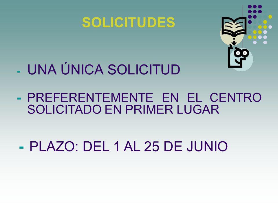 SOLICITUDES - UNA ÚNICA SOLICITUD - PREFERENTEMENTE EN EL CENTRO SOLICITADO EN PRIMER LUGAR - PLAZO: DEL 1 AL 25 DE JUNIO