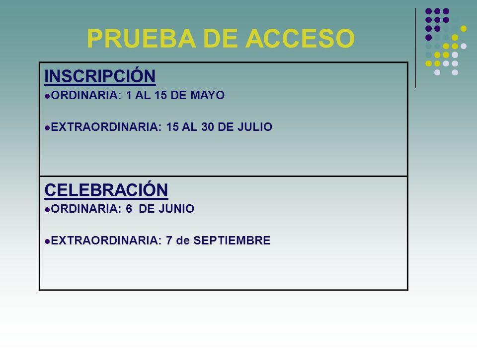 PRUEBA DE ACCESO INSCRIPCIÓN ORDINARIA: 1 AL 15 DE MAYO EXTRAORDINARIA: 15 AL 30 DE JULIO CELEBRACIÓN ORDINARIA: 6 DE JUNIO EXTRAORDINARIA: 7 de SEPTIEMBRE