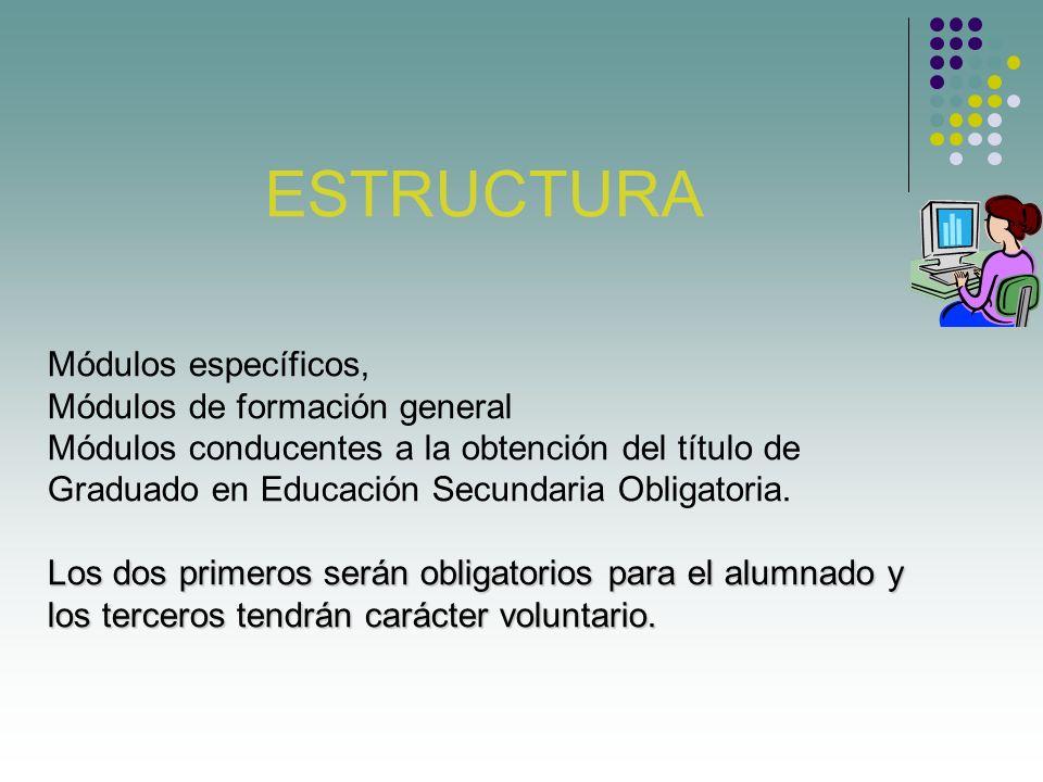 ESTRUCTURA Módulos específicos, Módulos de formación general Módulos conducentes a la obtención del título de Graduado en Educación Secundaria Obligatoria.