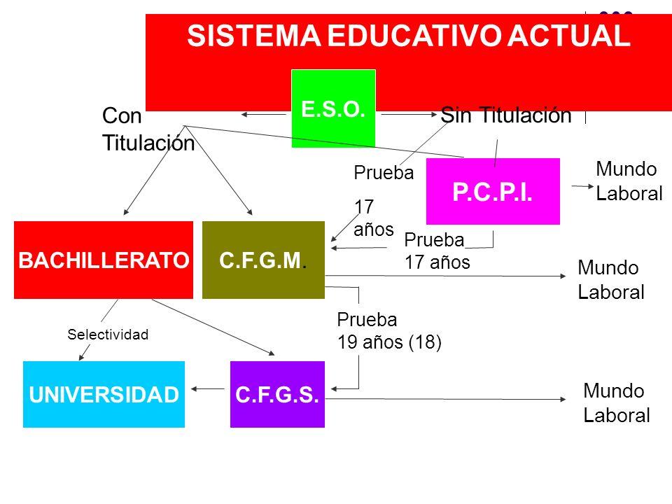 SISTEMA EDUCATIVO ACTUAL E.S.O. Sin Titulación P.C.P.I. Con Titulación BACHILLERATOC.F.G.M. Mundo Laboral Prueba 19 años (18) UNIVERSIDADC.F.G.S. Prue