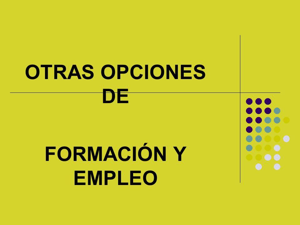 OTRAS OPCIONES DE FORMACIÓN Y EMPLEO