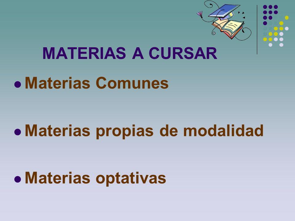 MATERIAS A CURSAR Materias Comunes Materias propias de modalidad Materias optativas