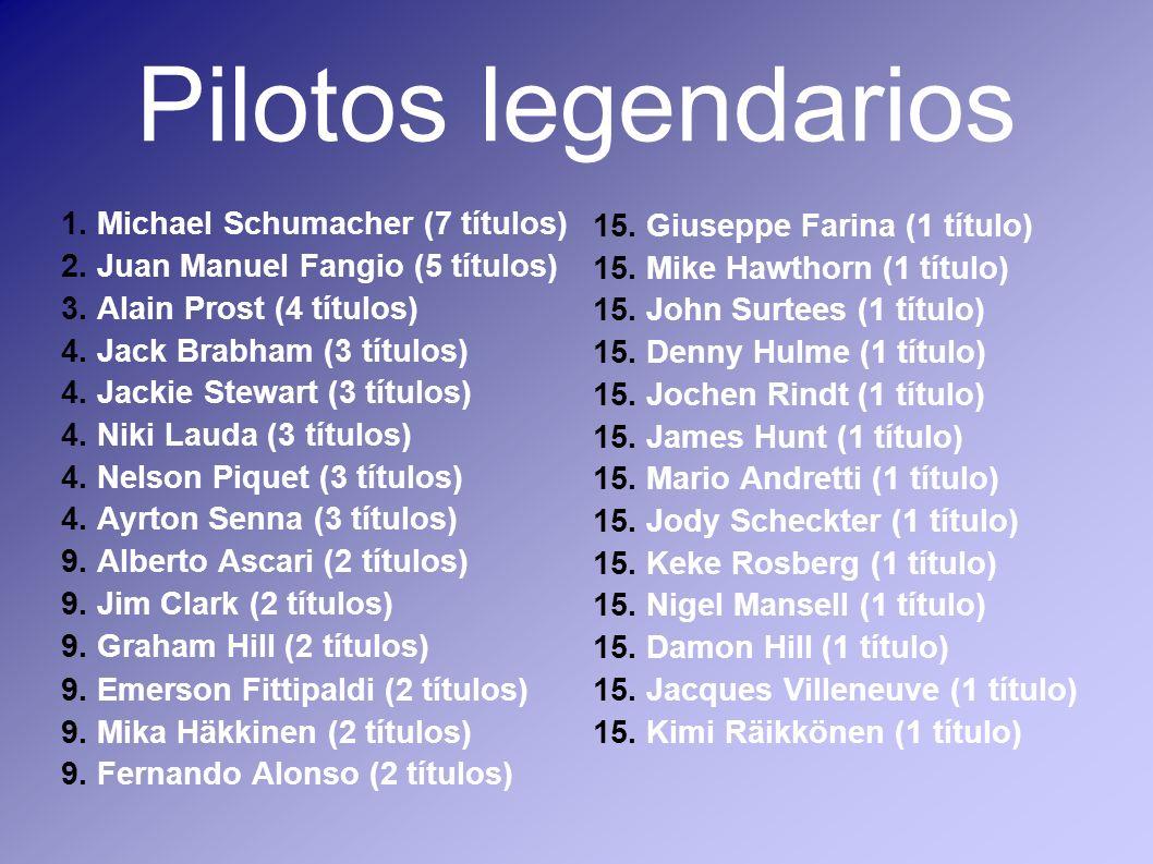 Pilotos legendarios 1. Michael Schumacher (7 títulos) 2. Juan Manuel Fangio (5 títulos) 3. Alain Prost (4 títulos) 4. Jack Brabham (3 títulos) 4. Jack