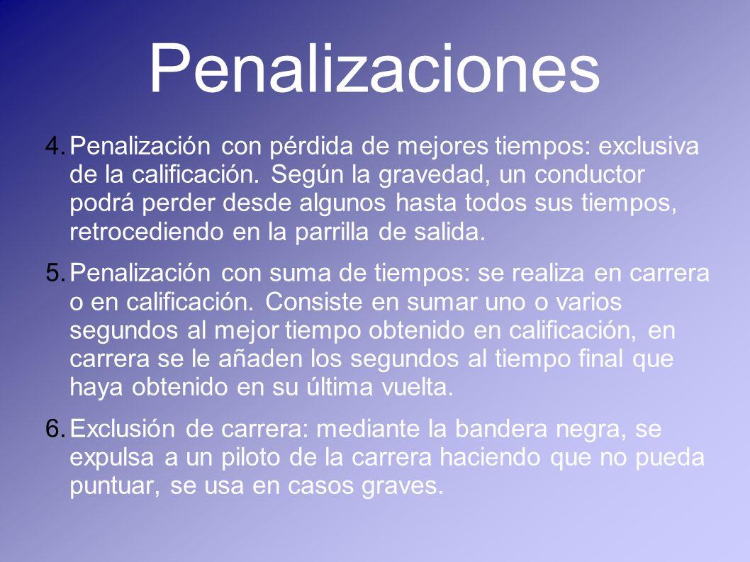 Penalizaciones 4.Penalización con pérdida de mejores tiempos: exclusiva de la calificación. Según la gravedad, un conductor podrá perder desde algunos