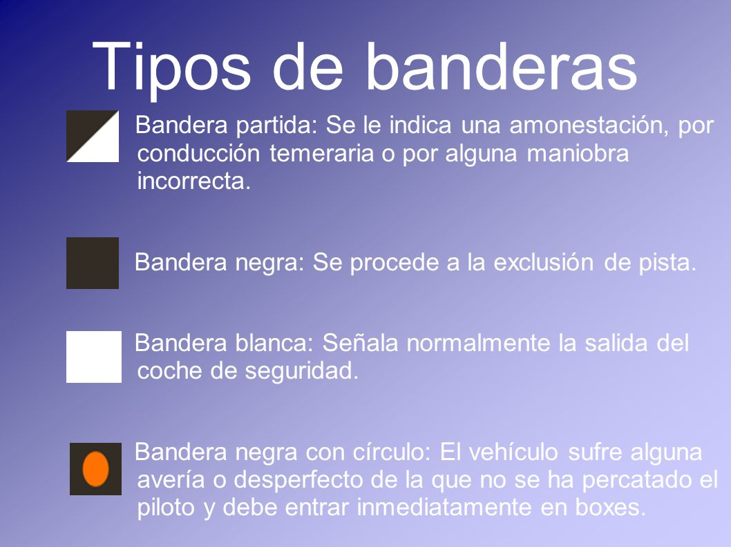 Tipos de banderas Bandera partida: Se le indica una amonestación, por conducción temeraria o por alguna maniobra incorrecta. Bandera negra: Se procede