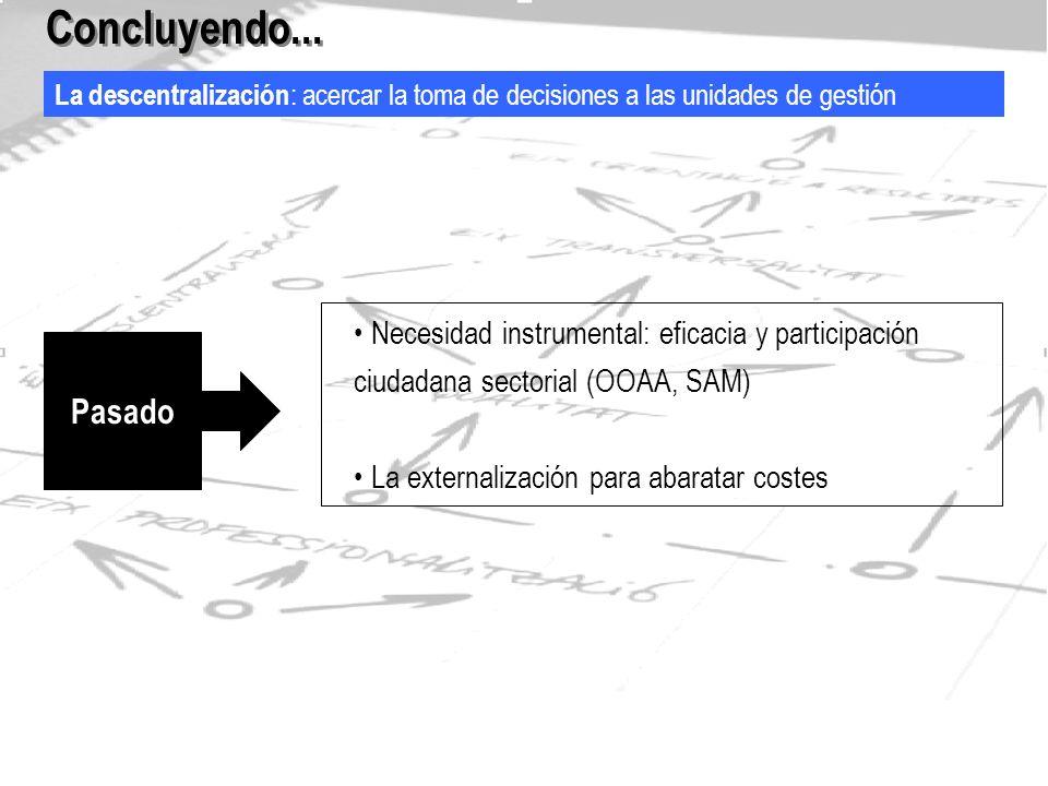 La descentralización : acercar la toma de decisiones a las unidades de gestión Concluyendo...